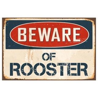 "Beware Of Rooster 8"" x 12"" Vintage Aluminum Retro Metal Sign"