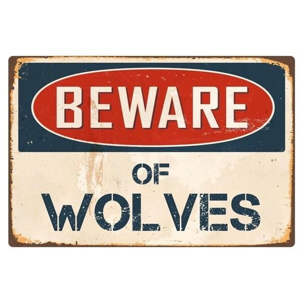 "Beware Of Wolves 8"" x 12"" Vintage Aluminum Retro Metal Sign"