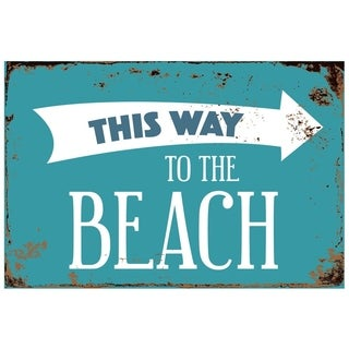 "This Way To The Beach 8"" x 12"" Vintage Aluminum Retro Metal Sign"