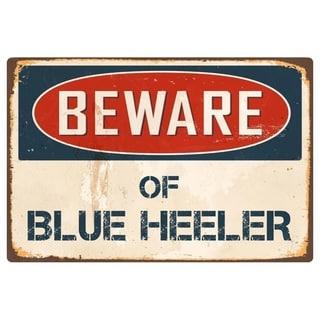 "Beware Of Blue Heeler 8"" x 12"" Vintage Aluminum Retro Metal Sign"