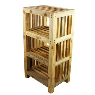 Haussmann Teak Tower 18 W x 13 D x 34 in H - 8 in Shelf Teak Oil - 18 in x 13 in x 34 in h