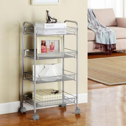 4 Tier Metal Rolling Storage Shelving Utility Rack Kitchen Cart