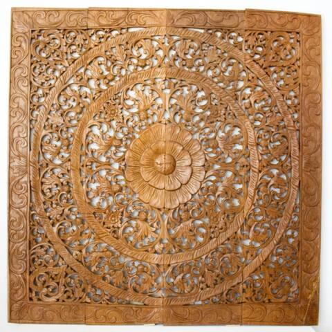 Haussmann® Teak Lotus Panel 48 in x 48 in H-1 Brown Stain Wax
