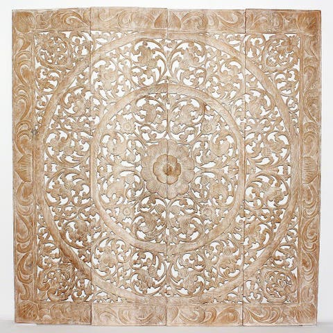Haussmann® Teak Lotus Panel 48 in x 48 in H-1 Sand Washed
