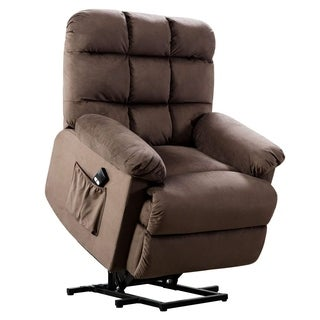 BONZY Lift Chair With Stuffed Armrest Comfort Broad Backrest-Chocolate