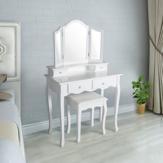Kinbor Vanity Table Set Tri Folding Mirror Dressing Table Makeup Table Set With Cushioned Stool White