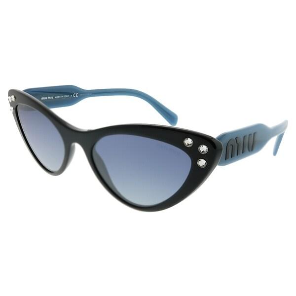 9199b4007b7 Miu Miu Cat-Eye MU 05TS 1AB3A0 Women Black Frame Blue Mirror Gradient  Silver Lens