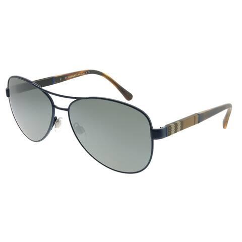 407f9380be Burberry Aviator BE 3080 12346G Unisex Matte Blue Frame Silver Mirror Lens  Sunglasses