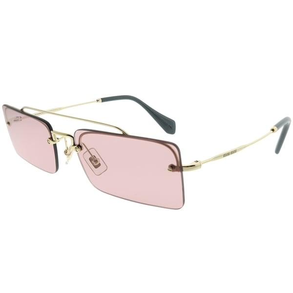 2670cdfbd9e Miu Miu Rectangle MU 59TS ZVN9G1 Women Pale Gold Frame Light Pink Lens  Sunglasses
