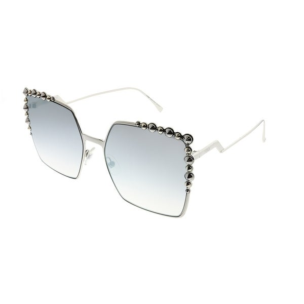782a260747dd Fendi Square FF 0259 Can Eye 010 IC Unisex Palladium Frame Silver Mirror  Gradient Lens Sunglasses