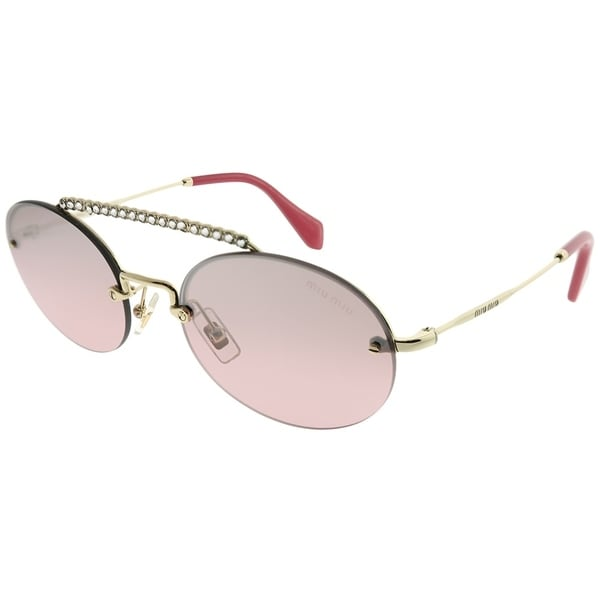 48435b07a3fb Miu Miu Oval MU 60TS ZVN095 Women Pale Gold Frame Pink Mirror Gradient Lens  Sunglasses