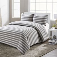Style Quarters Super Soft Shadow Stripe Jersey Comforter Set 3pcs Reversible in Grey and White-Machine Washable-King Size