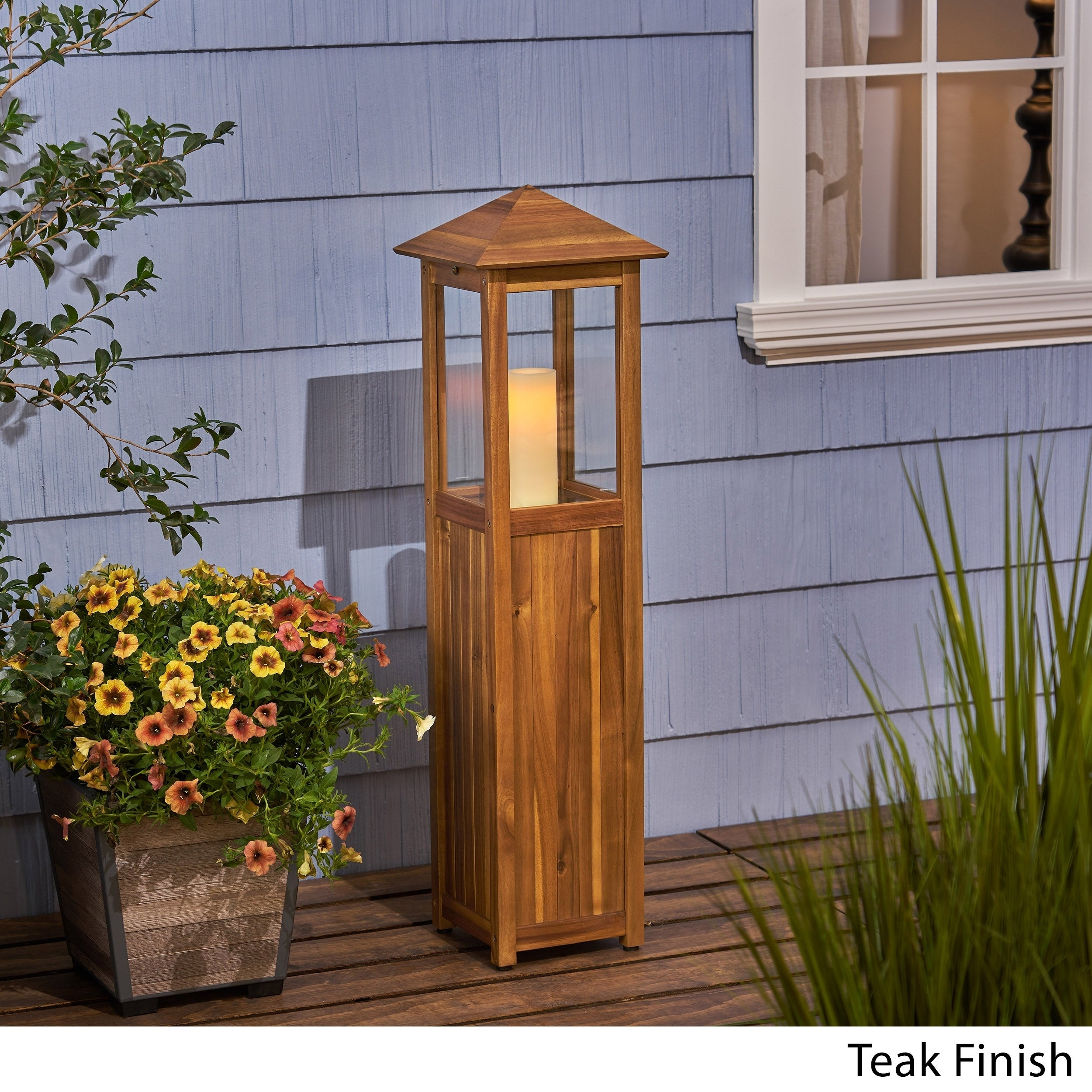 Claudine Outdoor Rustic Acacia Wood Candle Lantern By Christopher Knight Home On Sale Overstock 23007924