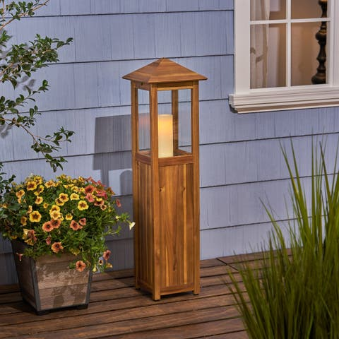 Claudine Acacia Wood Outdoor Candle Lanterns by Christopher Knight Home