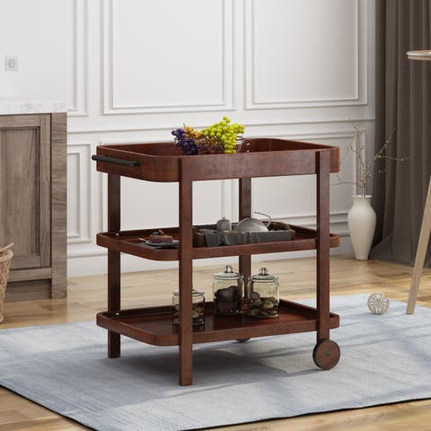 Selleck Traditional Acacia Wood Bar Cart with 3 Shelves by Christopher Knight Home