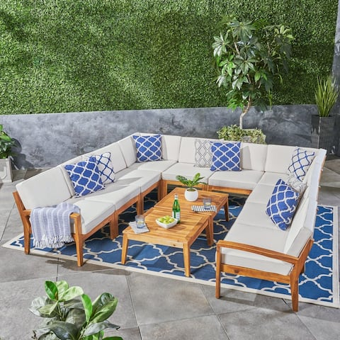 Grenada Outdoor Acacia Wood 10 Seater Sectional Sofa Set with Two Coffee Tables by Christopher Knight Home