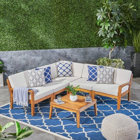 Grenada Acacia Wood 5-Piece Set Sectional Sofa Set for Patio with Cushions and Coffee Table by Christopher Knight Home