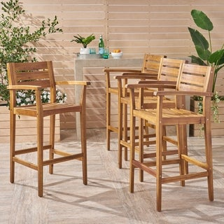 Stamford Outdoor Rustic Acacia Wood Bar Stool with Slat Seats (Set of 4) by Christopher Knight Home