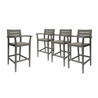 """Stamford Outdoor Bar Stools 30"""" Seats Solid Acacia Wood Slatted Set of 4 by Christopher Knight Home"""