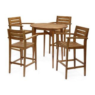 """Stamford Bar-Height Table Set Solid Acacia Wood Frames Includes 4 Bar Stools 30"""" Seats by Christopher Knight Home"""