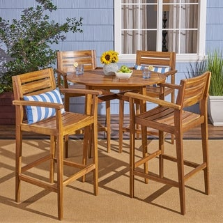 "Stamford Bar-Height Table Set Solid Acacia Wood Frames Includes 4 Bar Stools 30"" Seats by Christopher Knight Home"