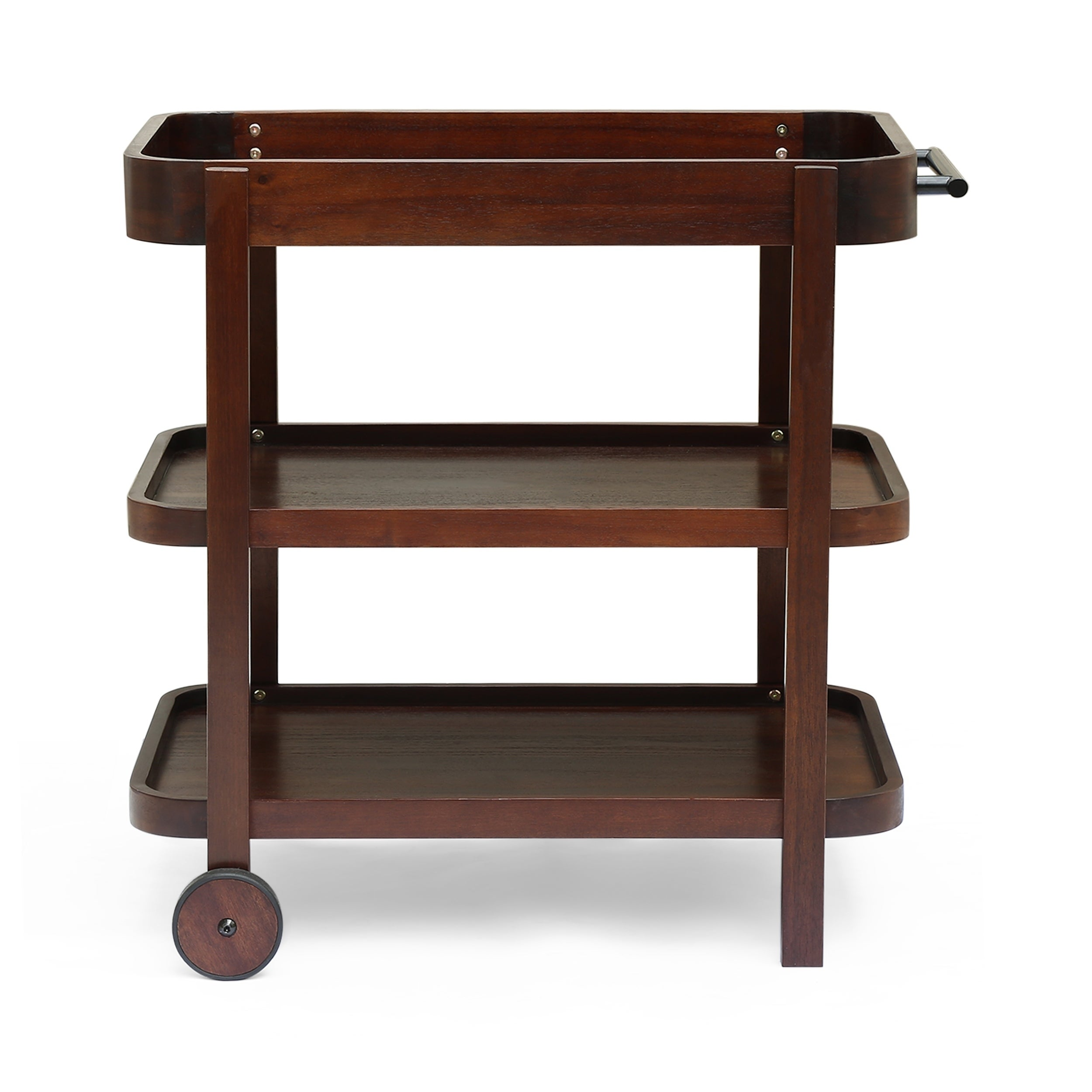 Bar Carts Serving Carts Home Garden Round 3 Tier Tea Bar Cart Serving Trolley With 4 Wheels Side Table Acacia Wood 360idcom Fr