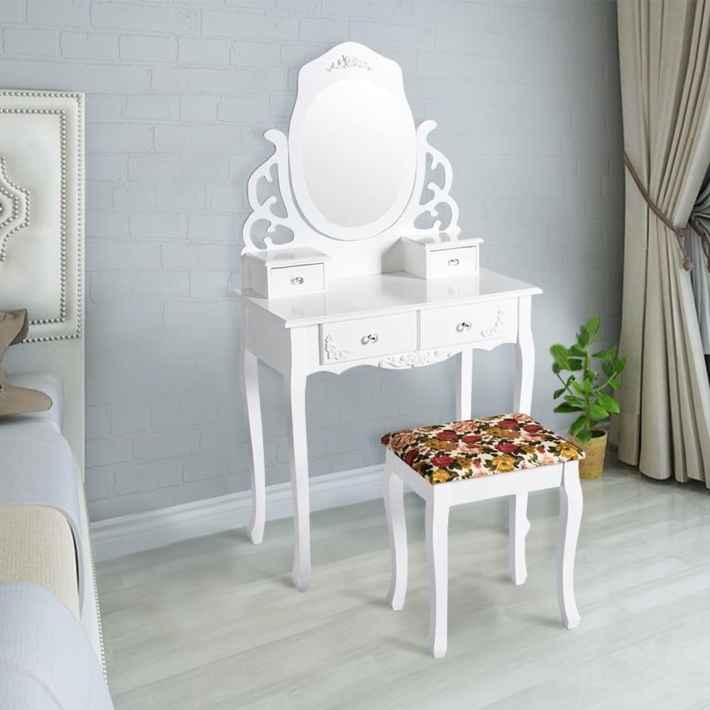 . Kinbor Vanity Table Set Makeup Table Mirror Dressing Table Set With Printed  Stool   4 Drawers White