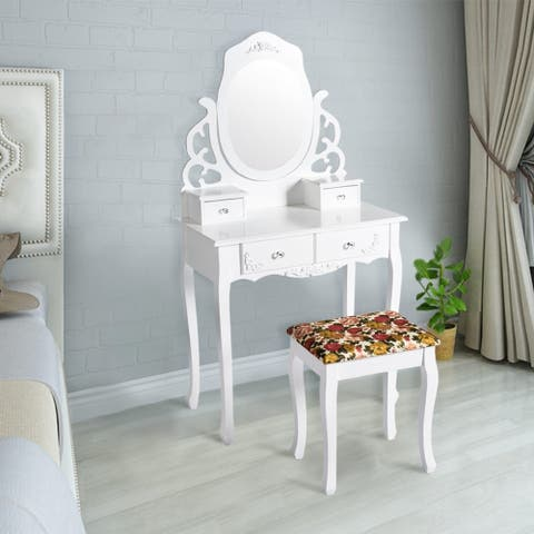 Kinbor Vanity Table Set Makeup Table Mirror Dressing Table Set With Printed Stool & 4 Drawers White