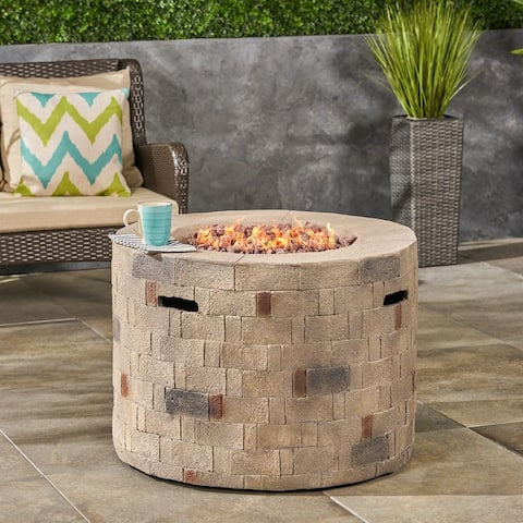 Dino Outdoor Lightweight Concrete Circular Fire Pit by Christopher Knight Home