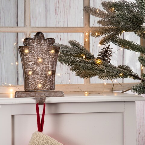 "Glitzhome Christmas Star/Giftbox/Christmas Tree LED Stocking Holder - 7.50""h"