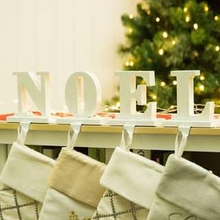 glitzhome christmas noel stocking holder set - Noel Christmas Store