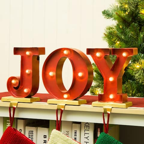 """Glitzhome Christmas """"JOY"""" LED Stocking Holder Set - 8.46""""h"""