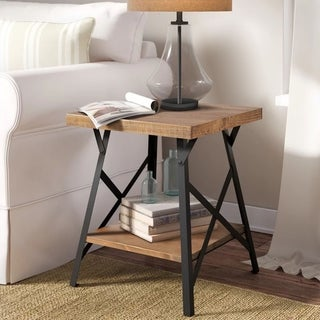Harper&Bright Designs Industrial Wood End Table with Metal Legs
