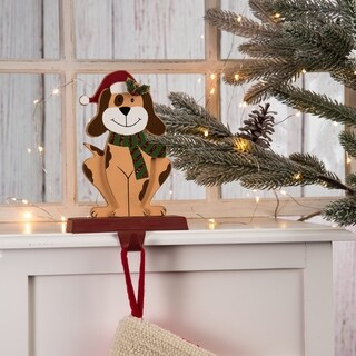 "Glitzhome Christmas Wooden/Metal Animal Stocking Holder, Dog, Cat - 7.50""h"