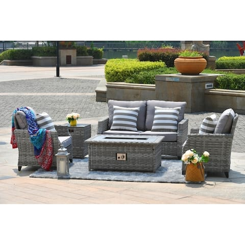 Maxwell 5-piece Patio Wicker Deep Seating Chat Set with Gas Fire Pit Table, Burner System and Cushions