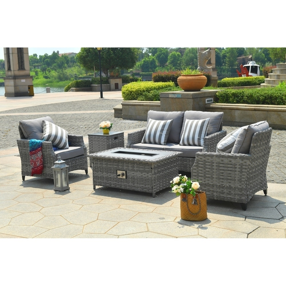 Wicker Deep Seating Patio Furniture.Maxwell 5 Piece Patio Wicker Deep Seating Chat Set With Gas Fire Pit Table Burner System And Cushions