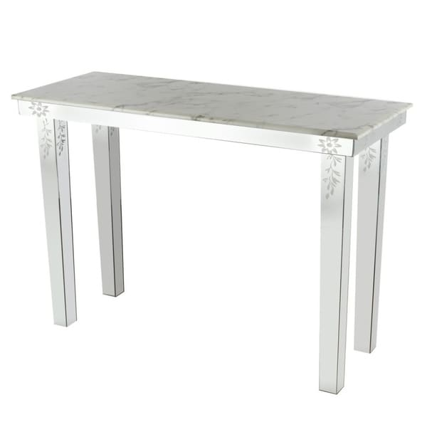 Shop Metal Console Table With Marble Top, White And Clear   On Sale   Free  Shipping Today   Overstock   23008140