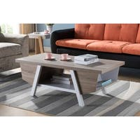 Wooden Coffee Table, Dark Taupe Brown & White