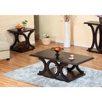 2 Piece Wooden Coffee & End Tables Set, Red Cocoa Brown