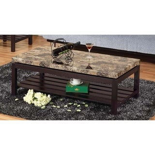 Wooden Coffee Table With Faux Marble Top, Red Cocoa Brown