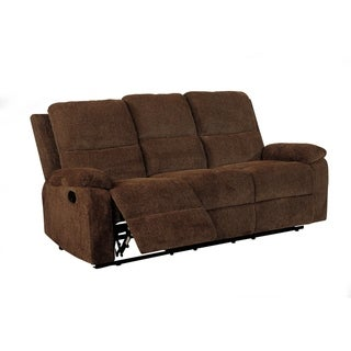 Transitional Style Chenille Fabric Double Recliners Sofa, Brown