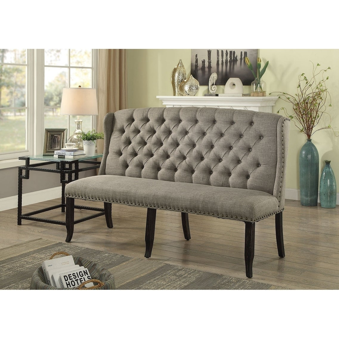 Tufted High Back 3 Seater Love Seat Bench With Nailhead Trims Light Gray On Sale Overstock 23008222