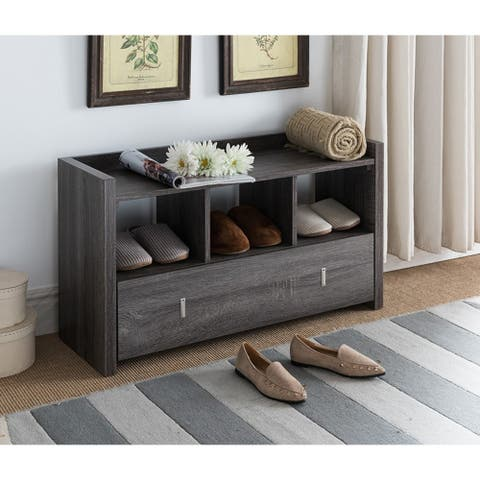 Wooden Storage Shoe Rack Bench With 3 Shelves and Raised Top, Distressed Gray