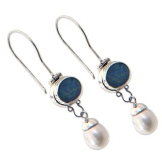 Handmade Pearl and Opal Harmony Earrings (Bali)