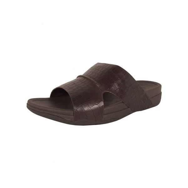 05aacc58230a Shop FitFlop Mens Bando Leather Croc Slide Slip On Sandal Shoes ...