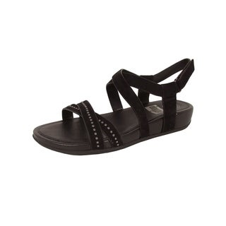 FitFlop Womens Lumy Criss Cross Suede With Studs Sandal Shoes, Black