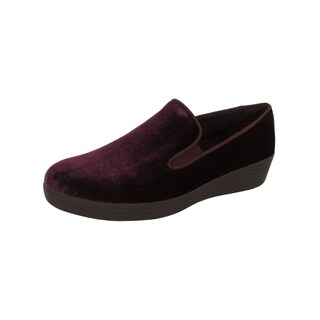 FitFlop Womens Superskate In Velvet Loafer Shoes, Deep Plum
