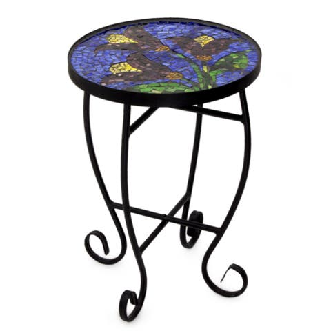 Handmade Stained Glass Tulip Temptation Table (Mexico)