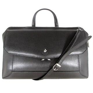 "Knomo London Aybrook Leather 16"" Laptop Crossbody Clutch Bag, Black"