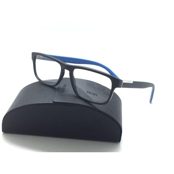 7a959512d0a7 Prada VPR 07P 1BO-1O1 Matte Black/Blue Authentic Eyeglasses 54mm w/ Case